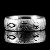Ring mit Totenkopf und Anker Eismatt Silber