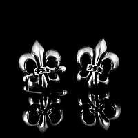 Paar Manschetten Knöpfe 925 Sterling Silber mit Lilie