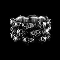 Skull Ring mit mehreren Totenköpfen - 3-reihig