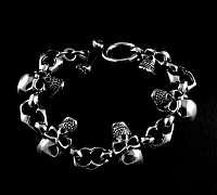 Totenkopf Armband mit Skulls aus Silber