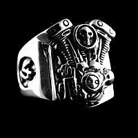 Biker Ring mit V2 Motor und Totenkopf