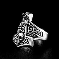 Thors Hammer Ring mit Totenkopf aus Silber