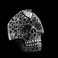 Totenkopf Ring Silber mit Schmucksteinen
