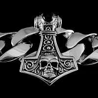 Panzerarmband Thors Hammer mit Totenkopf aus Silber