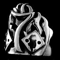 Flammen Würfel Lucky Seven Rockabilly Ring
