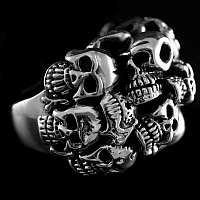 Bikerschmuck Totenkopfring mit vielen Skulls aus Silber