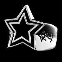Rockabilly Ring mit Stern aus Silber