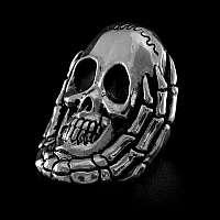 Totenkopf Skelettring aus Silber