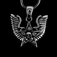 Anhänger Totenkopf mit Flügeln 925 Silber