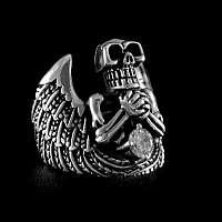Ring Skelett, Skull mit Flügeln und Zirkonia aus Sterlingsilber