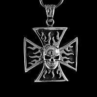 Flammendes Kreuz Anhänger mit Skull Silber