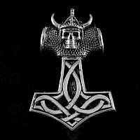 Anhänger Thors Hammer mit Skull und Helm