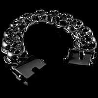 Schweres Totenkopf Armband massiv Silber