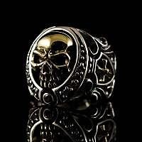 Biker Schmuck Totenkopf Ring mit Bronze
