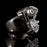 Biker Schmuck Ring mit Motor