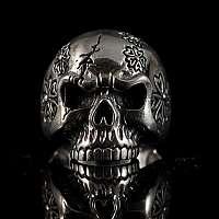 Totenkopf Ring mit Gravur aus Silber