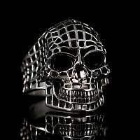 Bikerschmuck Totenkopfring aus Sterlingsilber