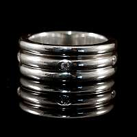 Drehring mit Diamanten aus Silber