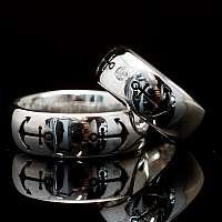 Eheringe mit Anker Diamant und Saphir