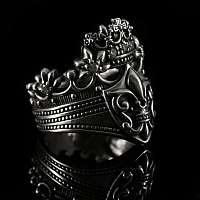 Gothic Ring mit Krone und Lilien