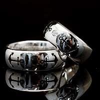 Hochzeitsringe, Eheringe mit Anker, Diamant und Saphir