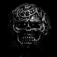 Totenkopf Ring Biker Schmuck mit kleiner Musterung