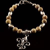 Kugelarmband aus Jaspis Stein mit Schmuckanhänger