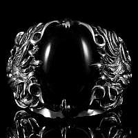 Löwenring mit großem Onyx