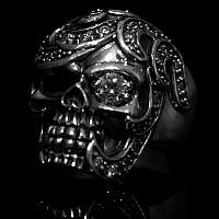 Massive Skullringe mit Musterung Biker Schmuck