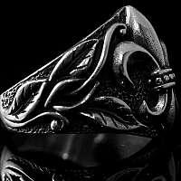 Ring Fleur de Lis mit Blättern Mittelalter Schmuck