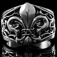 Mittelalterschmuck Ring Fleur de Lis Verzierung