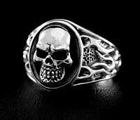 Flammen Bikerschmuck Skull Tribal Ring