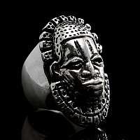Ring afrikanische Maske aus Silber
