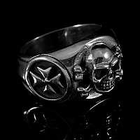 Totenkopf Rocker Schmuck Ring mit Templerkreuz
