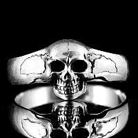 Rocker Schmuck Totenkopfring schmal aus Sterling Silber