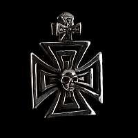 Rockerschmuck Anhänger mit Totenkopf und Templerkreuz aus Silber
