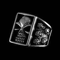 Rocker Schmuck Totenkopf Ring aus Silber