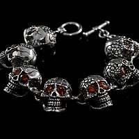 Skull Armband aus Silber mit roten Schmucksteinen, Bikerschmuck