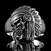 Skull Indianer Ring mit Federschmuck