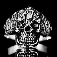 Tribal Skull Ring Sterling Silber