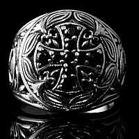 Templerkreuz Ring mit Schmuckstein Bikerschmuck