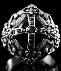 Templerkreuz Ring mit Verzierung, Biker Schmuck