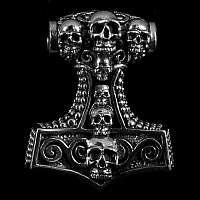 Thors Hammer Anhänger mit Totenkopf
