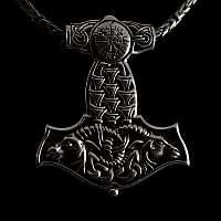 Thors Hammer Wikinger Schmuck Anhänger mit Vegvisir Symbol