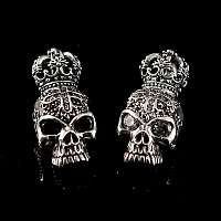 Totenkopf Anhänger mit Krone, schwarzen und weißen Zirkonia Steinen