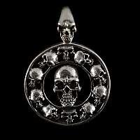 Totenkopf Anhänger, Amulett mit schwarzen Zirkonia Steinen