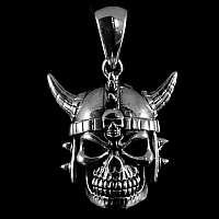 Totenkopf Anhänger mit Wikinger Helm