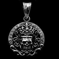 Totenkopf Anhänger mit Krone und weißen Zirkonia