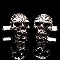 Manschettenknöpfe mit Totenkopf aus Silber