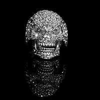 Funkelnder Totenkopf Ring mit Zirkonia Steinen